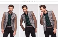 free shipping Hot Sale Blazer Men Stylish Slim Fit Suit Jacket Single Row Two Button Knitting Blazer Coat Long Sleeve Outwear
