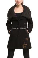 2014 autumn and winter women wool coat fashion women's medium-long trench