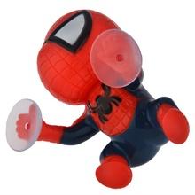 360-degree Rotating Cute 16cm Climbing Spiderman Sucker Doll Toy Auto Car Sticker Decoration Black/Red(China (Mainland))