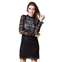 new 2015 spring women sexy pencil lace dresses package hip sheath laciness mini dress mandarin collar long sleeve dress S-4XL