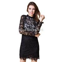 women new sexy pencil lace dresses package hip long sleeve sheath laciness above knee mini mandarin collar winter dress S-4XL