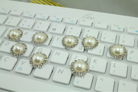 100pcs/lot 18mm HOT SALE Beautiful  ivory Artificial Clear Alloy Round Rhinestone  pearl Button For Wedding Invitation
