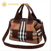 Large Capacity Women Solid Canvas bag Famous brand Women handbag Fashion Plaid Travel bag Vintage design shoulder bags luggage