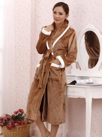 2014 new Autumn and winter women's lengthen ultra soft coral fleece robe sleepwear bathrobes women's brown robe lounge sleepwear