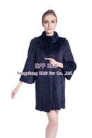 BG80147 Diamond Color Genuine Musk Fur Coat For Women Long Style Winter Big Yards Fur Garment OEM