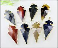 5pcs Nature Druzy Agate Faceted Pendant,Drusy Gem stone Pendant in mix color,Gold Tone Druzy Arrow shape Pendant,Jewelry Making
