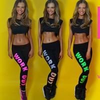 2014 new women leggings fashion letter print work out casual sport leggings sexy fitness leggings punk leggins winter leggings