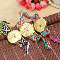 4 Colors New Fashion Brand Handmade Rope Bracelet Women Watch Geneva Hand-Woven Watch Ladies Quarzt Watch AW-SB-1165