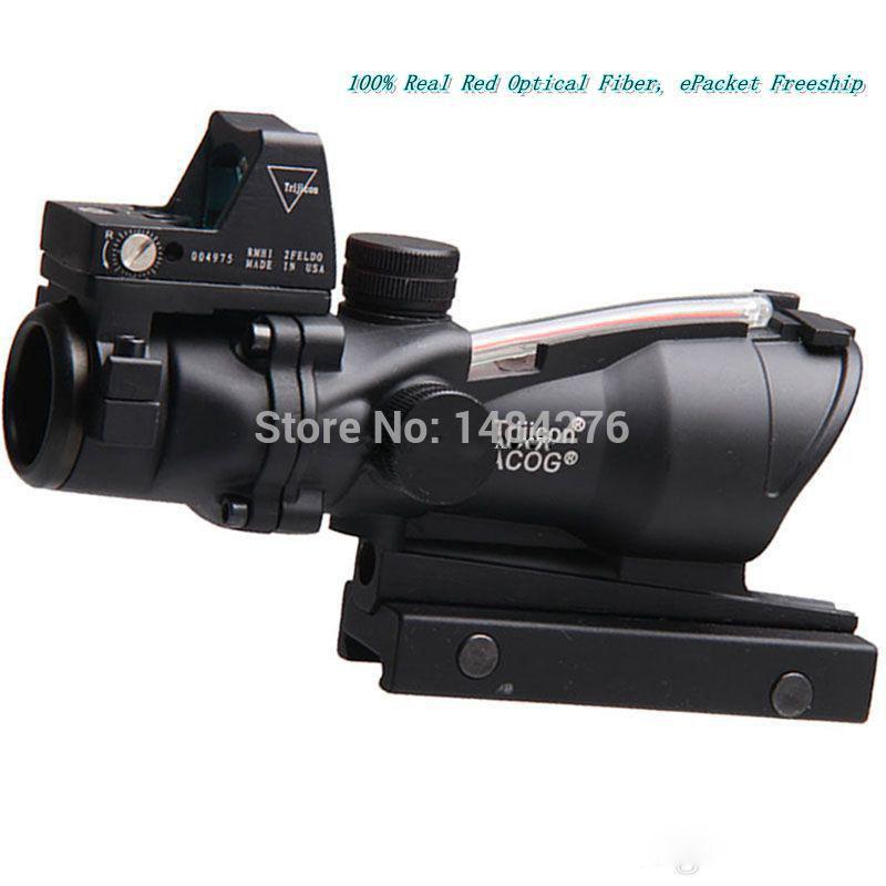 Tactical Hunting Shooting Trijicon ACOG 4x32 Red Optical Real Fiber RMR Mini Red Dot Riflescope