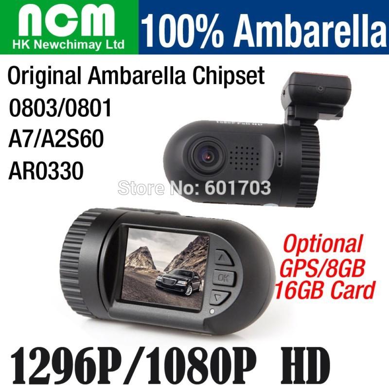 100% Original Mini DVR 0801 0803 Full HD Video Recorder Car Camera DVR Ambarella A7 A2 1080P 1296P SOS Optional GPS 8GB 16GB(China (Mainland))