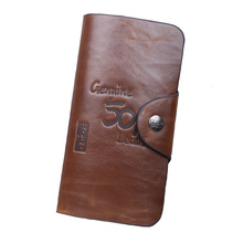 Lowest Price Top quality ! 2014 new design fashion men casual wallets & fine long bifold brown Genuine leather with PU(China (Mainland))