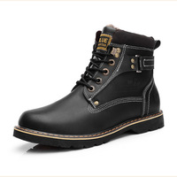 Super Warm Men'S Winter Leather Boot Men Outdoor Waterproof Rubber Snow Boots Leisure Martin Boots England Retro Shoes For Mens