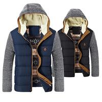 Brand Korean Man Fashion Warm Parkas Size M-2XL Patchwork Design Cotton-Padded Style Young Men Winter Down Jackets