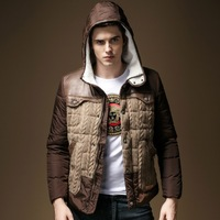 Fur Hat Men Warm Casual Parkas Plus Size L-3XL Knitted Patchwork Design Charm Man Winter Fashion Outerwear