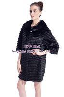 BG80141 Long Style Black Genuine Rex Rabbit Fur Coat For Women With Mink Fur Collar Elegant Clothes Warm In Winter