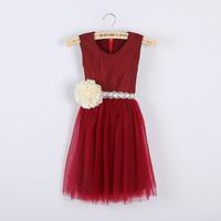 Hot ! Girls summer lace flower belt gauze dress , girls lace dress , princess dress , 6pcs/lot
