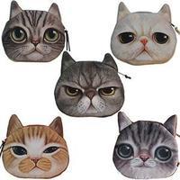 2014 New Free Shipping Children Cute Cat Face Zipper Case Coin Kids Purse Wallet Pouch Mini