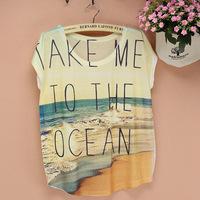 New 2015 Fashion Free Shipping Women T-shirts Summer Short Sleeve Shirts Sea Scenery Printed Blouse Casual Blusas Femininas