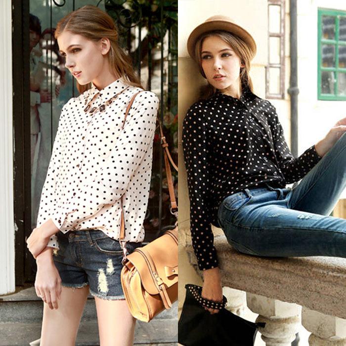 Feitong Women Clothing Work Wear Elegant Polka Dots Painted Long Sleeve Chiffon Shirt Tops Blouse Free Shipping&Wholesales(China (Mainland))