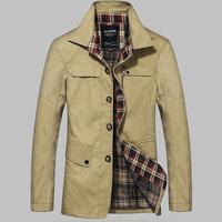 England Style Business Men Fashion Jackets Size M-2XL Black & Khaki Single Breasted Man Casual Windbreaker Autumn & Winter Coats