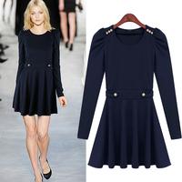2014 Europe&America Style Knitting Pleated Dress Plus Size Long-Sleeved Winter Women Dress Navy Blue Solid Office Dress
