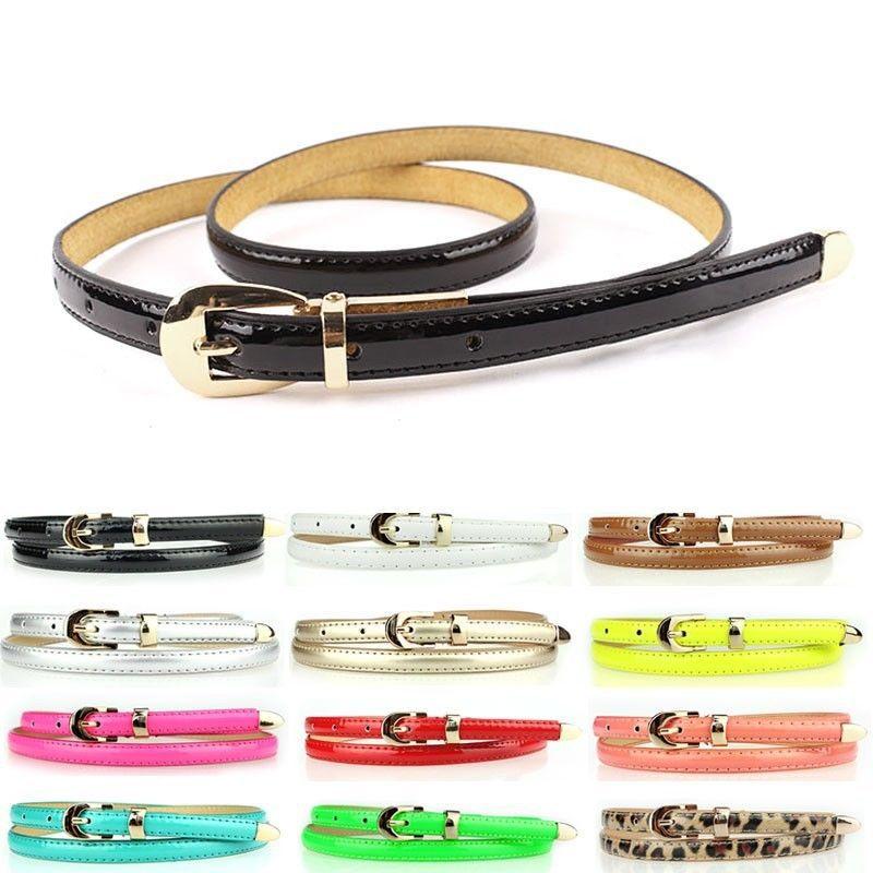 2014 New Fashion Use 12 Colors Fashion Women Candy Color Narrow Thin Skinny Waist Belt Pu