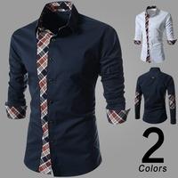 New 2014 Fashion Quality Long Sleeve Shirt Men.Korean Slim Design,Formal Casual Male Dress Shirt.Solid Color.casual shirt