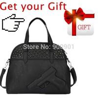 2014 Women hot gun bag 3d cartoon gun print pistol bag fashion rock punk PU Leather messenger shoulder bags Vlieger&Vandam