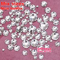 1200pcs/bag Mix Size Crystal color Nail Art Rhinestones Non HotFix Rhinestones SS4 SS6 SS8 SS10 SS12 SS16 SS20 SS30