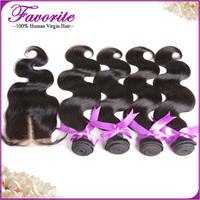Ali Favorite Human Hair Peruvian Hair Weft with Closure, Body Wave 4pcs Weft with 1pcs Lace Closure Peruvian Virgin Hair Bundle