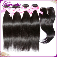 Grade 6A Straight Virgin Human Hair Weft with Closure 5pcs with Bleached Knots Quality Brazilian Human Hair Weave with Closure