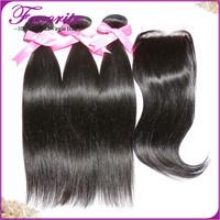 Brazilian Virgin Hair 3pcs Hair Bundles With 1pc Lace Closure Human Hair Weave 6ABrazilian Silky Straight Hair Weft with Closure