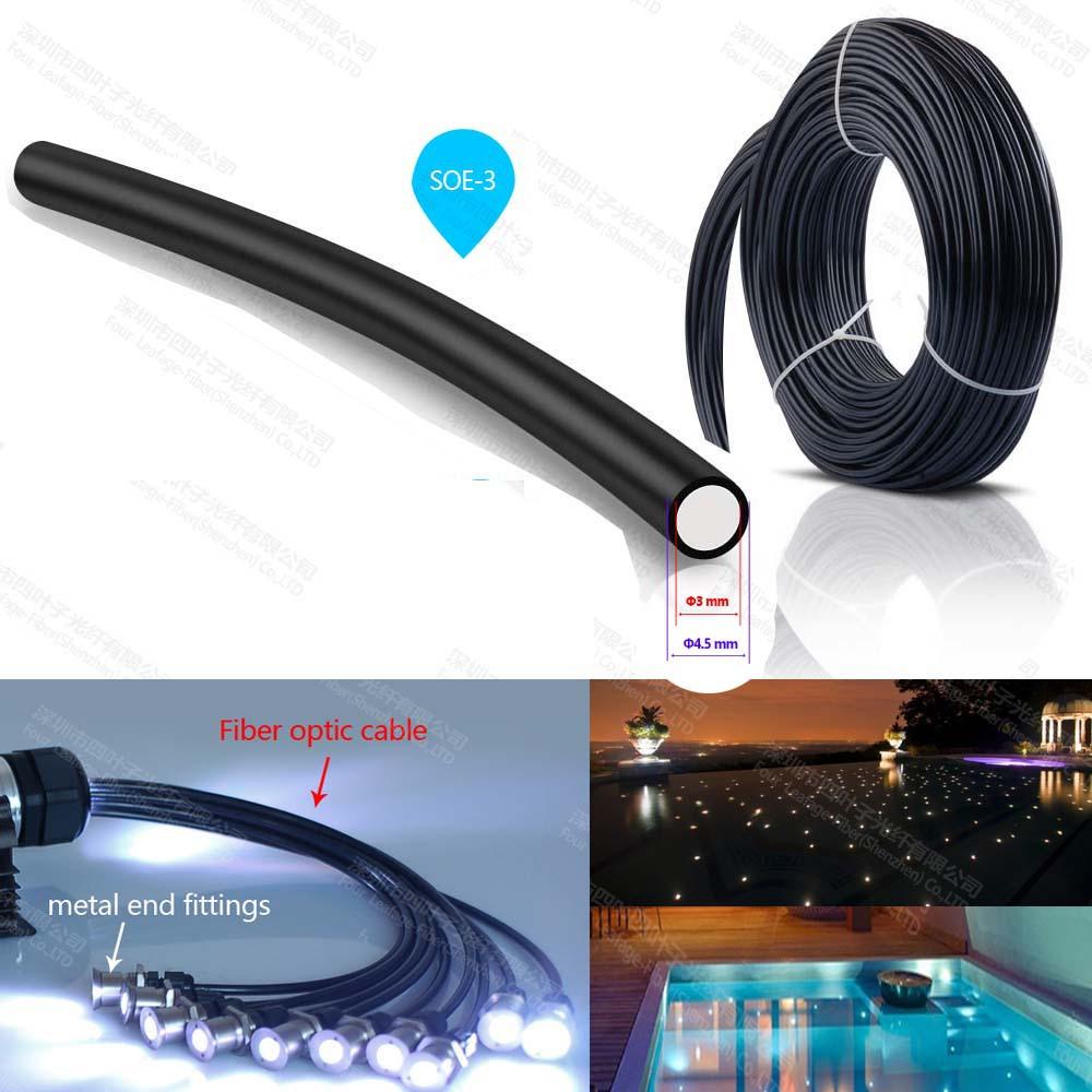 3mm PMMA end glow emitting optical fibra optica cable optic fiber for swimming pool light ceiling sauna light(China (Mainland))