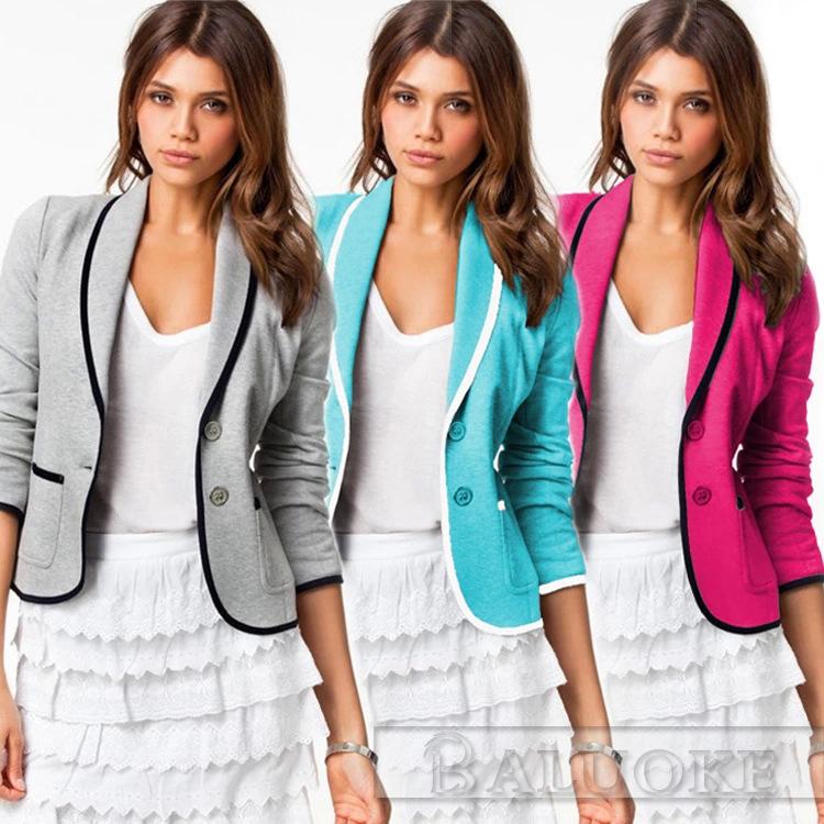 New Fashion Spring Autumn Women Blazer Short Design Turn Down Collar Slim Blaser Feminino Candy Color Jacket Coat Cargidans(China (Mainland))