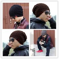 1Pcs Unisex Winter Warm Knit Wool Beanie Hat Berets Reversible Baggy Cap Skull Chunky Winter Hats 8 Colors AY673641