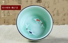 Kung Fu cup  Ceramics  Longquan celadon  Tea set  Fish  Tea cup  Tea Ru  Small hats Cup 6pcs(China (Mainland))