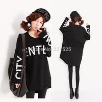 Plus Size Feminino2014 Sweatshirts Women Casual Winter Dress Hoody Batwing Sleeve Pullover Letter Printed T-Shirt