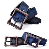 Polished Genuine Leather Blue Belts For Men Casual Mens Belts Luxury Vintage Buckle Strap Cinto Masculino Cinturon MBT0208