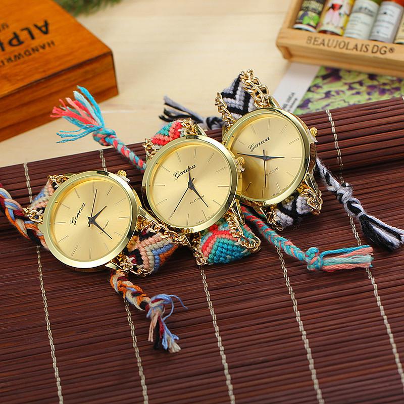 13 Colors Braided Rope Bracelet Geneva Watches Hand Made Friendship Watch Women Quartz Watches BW SB