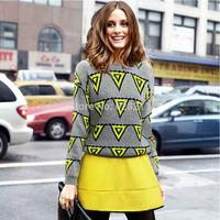 big size Women's sweater 2015 Winter Plaid Pullover Sweater High Waist Xipper Fashion Short Half-length Casual Skirt Set