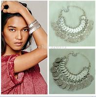 2014 Hot sales brand  Bohemia alloy metal coin pendant bracelet chunky charm bracelets bangles fashion costume jewelry