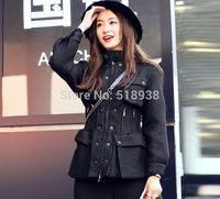 New luxury 2014 autumn winter women black tweed buttons zipper jacket runway fashion pockets stand collar outerwear cool jackets