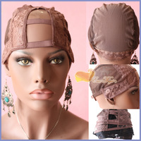 Free Shipping U Part Wig Caps For Makeing Wigs Top Quality Stretch Adjustable Straps Back  middle  left or right side stock