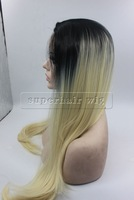 """26 """" Fashion long synthetic lace front wig  two tone black blonde 613 ombre wigs celebrity body wave wig  free shipping"""