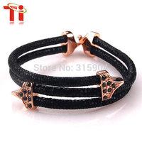 Exclusive design genuine stingray skin bracelet leather with stainless steel  bracelet