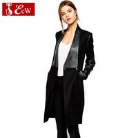 ECW 2014 NEW Women Coat Fashion Long Jacket Autumn and Winter Woolen Jacket PU Leather Coat Big Size High Quality For Female