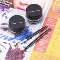 2 in 1 Brown Black Gel Eyeliner Make Up Waterproof Freeshipping Cosmetics Set Hot Dorp Shipping