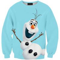 Women Hoody Digital printing 3D Snowman Frozen Gothic Fashion Womens Tops Sweatershirt Pullover Hedging Sweater Saia Feminina
