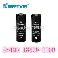 free shipping 2 pcs KeepPower IMR 1100mah protected 18500 rechargeable  battery flashlight li ion 3.7v for flashlight headlamp