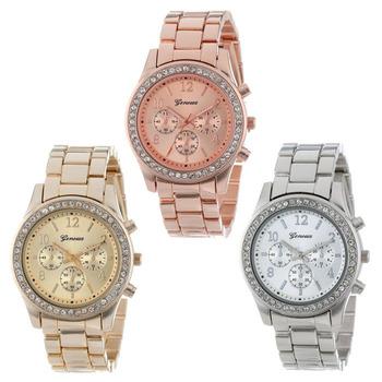 Надежный 3 цветов кварцевые часы мужчины женщины искусственной хронограф элт покрытие женева женские часы relógio металл мужские часы SV78